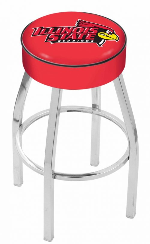 "Illinois State Redbirds (L8C1) 25"" Tall Logo Bar Stool by Holland Bar Stool Company (with Single Ring Swivel Chrome Solid Welded Base)"