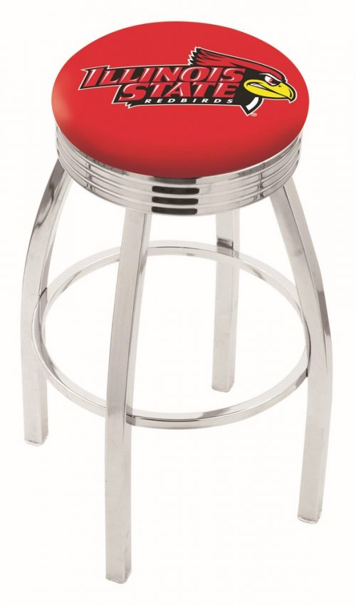 """Illinois State Redbirds (L8C3C) 30"""" Tall Logo Bar Stool by Holland Bar Stool Company (with Single Ring Swivel Chrome Solid Welded Base)"""