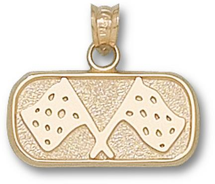 """Indianapolis Motor Speedway Oval """"Track Flags"""" 3/8"""" Pendant - 10KT Gold Jewelry"""