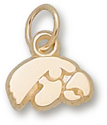 """Iowa Hawkeyes 1/4"""" """"Tiger Hawk"""" Charm - 14KT Gold Jewelry"""