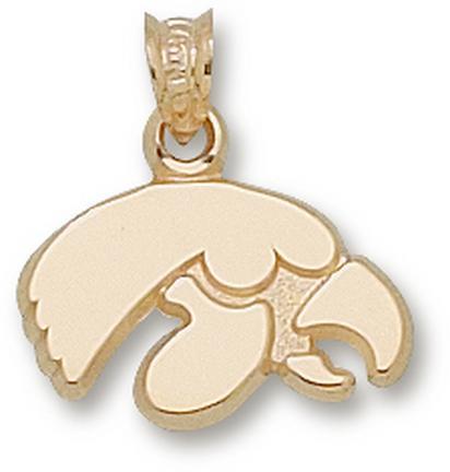 """Iowa Hawkeyes """"Tiger Hawk"""" Pendant - 10KT Gold Jewelry"""