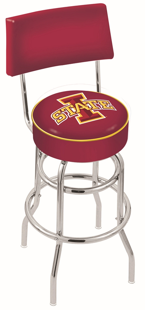"""Iowa State Cyclones (L7C4) 30"""" Tall Logo Bar Stool by Holland Bar Stool Company (with Double Ring Swivel Chrome Base and Chair Seat Back)"""