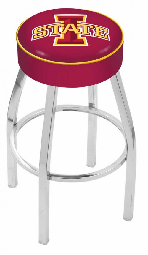 "Iowa State Cyclones (L8C1) 25"" Tall Logo Bar Stool by Holland Bar Stool Company (with Single Ring Swivel Chrome Solid Welded Base)"