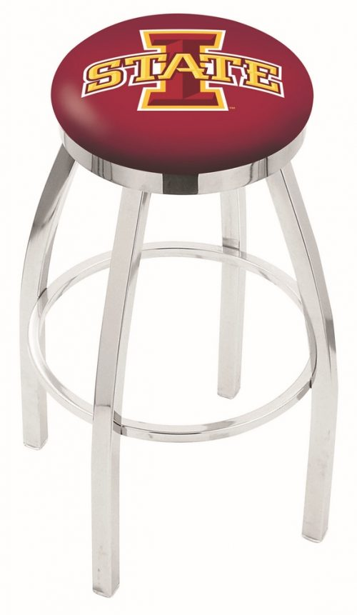 "Iowa State Cyclones (L8C2C) 25"" Tall Logo Bar Stool by Holland Bar Stool Company (with Single Ring Swivel Chrome Solid Welded Base)"