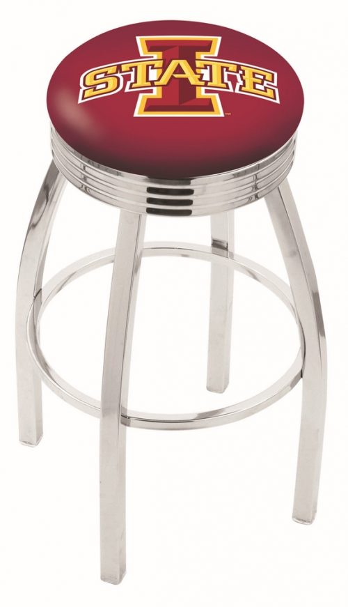 """Iowa State Cyclones (L8C3C) 30"""" Tall Logo Bar Stool by Holland Bar Stool Company (with Single Ring Swivel Chrome Solid Welded Base)"""