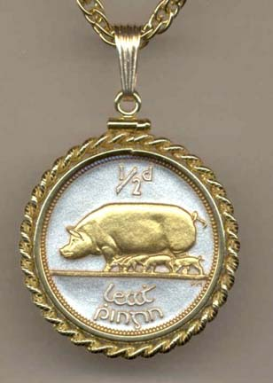"""Irish Penny """"Pig and Piglets"""" Two Tone Rope Edge Coin Pendant with 18"""" Chain"""