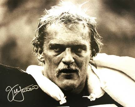 """Jack Lambert Autographed """"BW Close Up with Signature in Silver"""" Pittsburgh Steelers 16"""" x 20"""" Photo"""