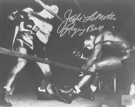 "Jake LaMotta Autographed ""Knocking Sugar Ray Robinson Through Ropes February 1943"" 16"" x 20"" Black & White Photograph (Unframed)"