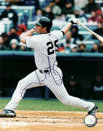 "Jason Giambi ""Swinging"" Autographed New York Yankees 8"" x 10"" Photograph (Unframed)"