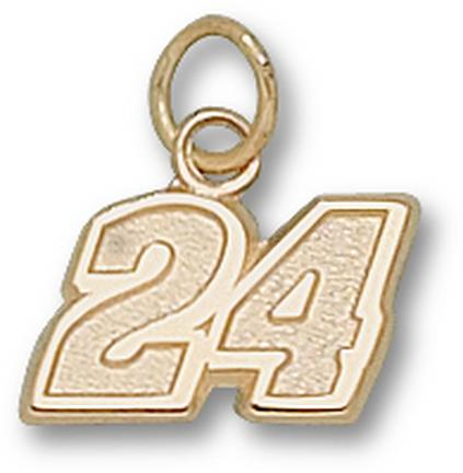 """Jeff Gordon Small Driver Number """"24"""" 5/16"""" Charm - 14KT Gold Jewelry"""