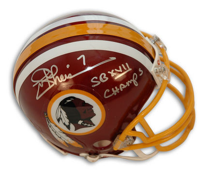 "Joe Theismann Autographed Washington Redskins Mini Helmet Inscribed with ""SB XVII Champs"