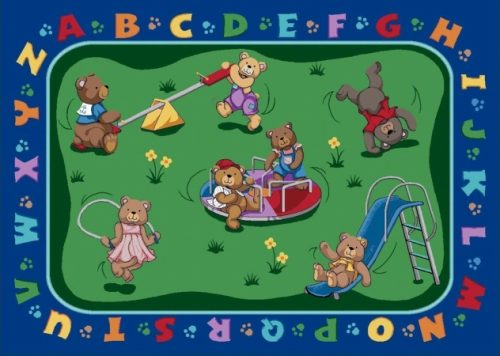 Joy Carpets 1437C Teddy Bear Playground 5 ft.4 in. x 7 ft.8 in. 100 Pct. STAINMASTER Nylon Machine Tufted- Cut Pile Educational Rug