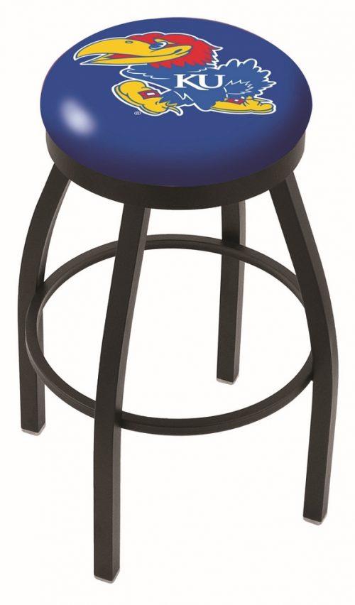 "Kansas Jayhawks (L8B2B) 30"" Tall Logo Bar Stool by Holland Bar Stool Company (with Single Ring Swivel Black Solid Welded Base)"