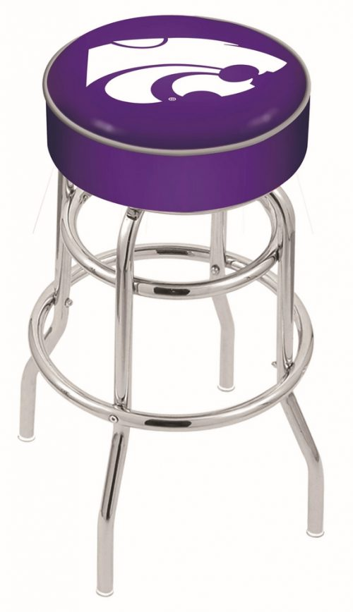"""Kansas State Wildcats (L7C1) 30"""" Tall Logo Bar Stool by Holland Bar Stool Company (with Double Ring Swivel Chrome Base)"""