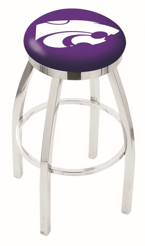 """Kansas State Wildcats (L8C2C) 25"""" Tall Logo Bar Stool by Holland Bar Stool Company (with Single Ring Swivel Chrome Solid Welded Base)"""