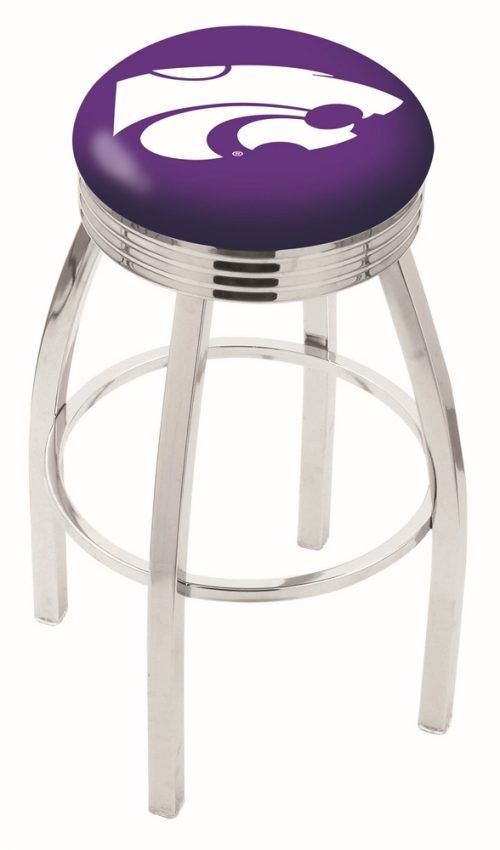 """Kansas State Wildcats (L8C3C) 25"""" Tall Logo Bar Stool by Holland Bar Stool Company (with Single Ring Swivel Chrome Solid Welded Base)"""
