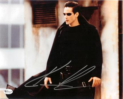 "Keanu Reeves Autographed ""Matrix"" 8"" x 10"" Photograph (Unframed)"