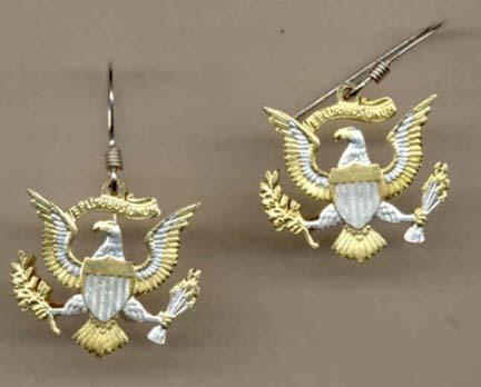 """Kennedy Dollar """"Eagle with No Rim"""" Two Toned Coin Cut Out Earrings"""