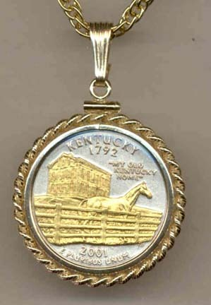 """Kentucky Two Tone Rope Bezel Statehood Quarter with 18"""" Rope Necklace"""