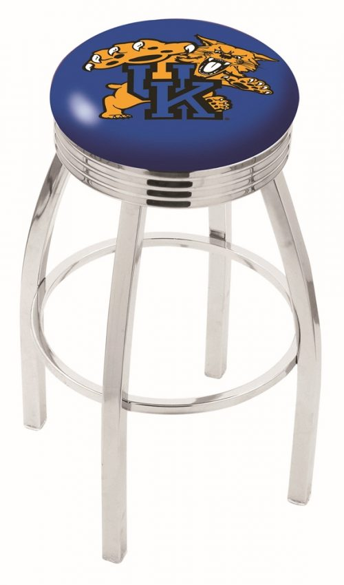 """Kentucky Wildcats (L8C3C) 25"""" Tall Logo Bar Stool by Holland Bar Stool Company (with Single Ring Swivel Chrome Solid Welded Base)"""