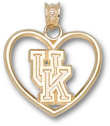 "Kentucky Wildcats ""UK"" Heart Pendant - 10KT Gold Jewelry"