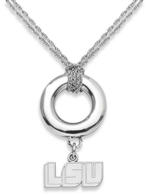 "LSU Tigers 5/16"" ""LSU"" Sterling Silver Halo Necklace"