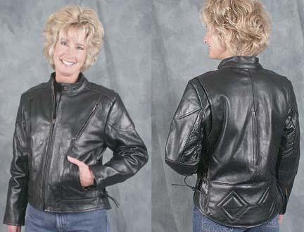 Ladies Black Vented Side Lace Motorcycle Jacket
