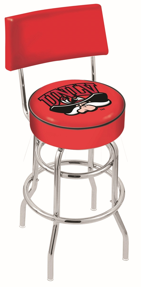 """Las Vegas (UNLV) Runnin' Rebels (L7C4) 30"""" Tall Logo Bar Stool by Holland Bar Stool Company (with Double Ring Swivel Chrome Base and Chair Seat Back)"""