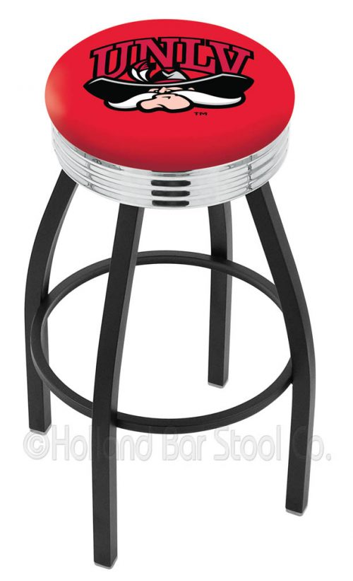 "Las Vegas (UNLV) Runnin' Rebels (L8B3C) 30"" Tall Logo Bar Stool by Holland Bar Stool Company (with Single Ring Swivel Black Solid Welded Base)"