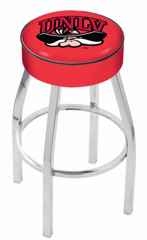 "Las Vegas (UNLV) Runnin' Rebels (L8C1) 30"" Tall Logo Bar Stool by Holland Bar Stool Company (with Single Ring Swivel Chrome Solid Welded Base)"