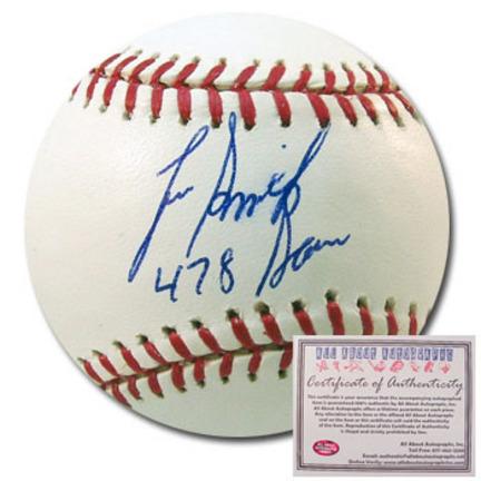 "Lee Smith Autographed Rawlings MLB Baseball with ""478 Saves"" Inscription"