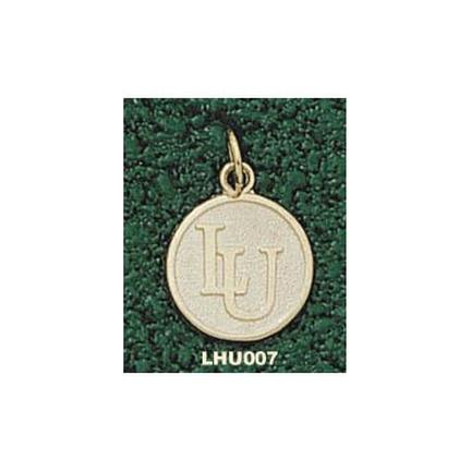 "Lehigh Mountain Hawks Interlock ""LU"" 1/2"" Disk Charm - 10KT Gold Jewelry"