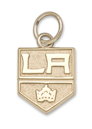 """Los Angeles Kings 3/8"""" Primary Logo Charm - 14KT Gold Jewelry"""