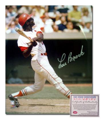 "Lou Brock St. Louis Cardinals Autographed 16"" x 20"" Batting Photograph (Unframed)"