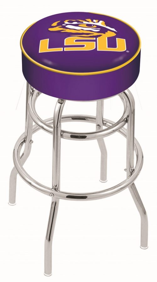 "Louisiana State (LSU) Tigers (L7C1) 25"" Tall Logo Bar Stool by Holland Bar Stool Company (with Double Ring Swivel Chrome Base)"