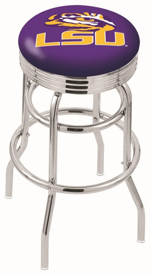 """Louisiana State (LSU) Tigers (L7C3C) 25"""" Tall Logo Bar Stool by Holland Bar Stool Company (with Double Ring Swivel Chrome Base)"""