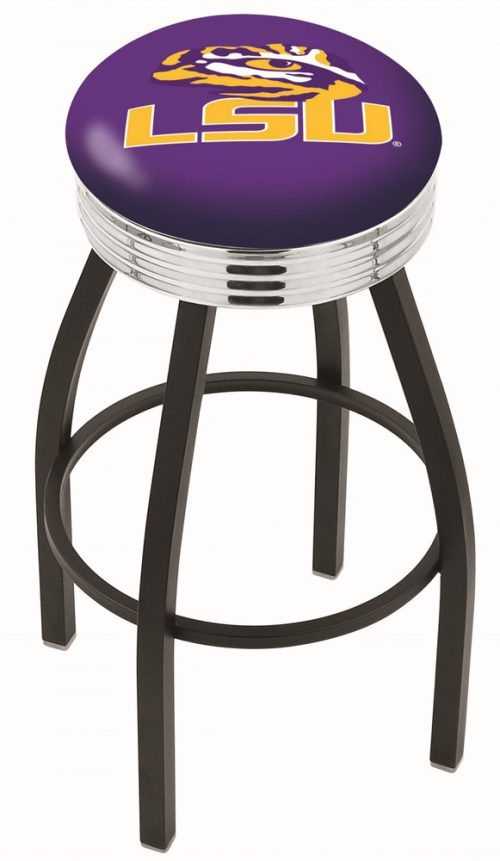 """Louisiana State (LSU) Tigers (L8B3C) 25"""" Tall Logo Bar Stool by Holland Bar Stool Company (with Single Ring Swivel Black Solid Welded Base)"""