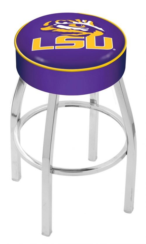 """Louisiana State (LSU) Tigers (L8C1) 30"""" Tall Logo Bar Stool by Holland Bar Stool Company (with Single Ring Swivel Chrome Solid Welded Base)"""