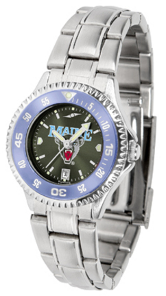 Maine Black Bears Competitor AnoChrome Ladies Watch with Steel Band and Colored Bezel