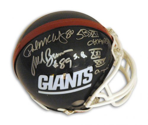 "Mark Bavaro and Phil McConkey New York Giants Autographed Mini Football Helmet Inscribed ""SB XXI XXV Champs"" and ""SBXV Champs!"