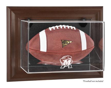 Maryland Terrapins Brown Framed Wall Mountable Logo Football Display Case