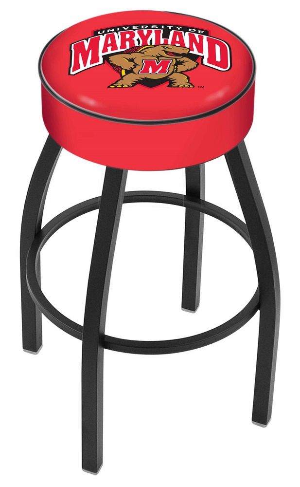 """Maryland Terrapins (L8B1) 30"""" Tall Logo Bar Stool by Holland Bar Stool Company (with Single Ring Swivel Black Solid Welded Base)"""