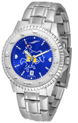 McNeese State Cowboys Competitor AnoChrome Men's Watch with Steel Band