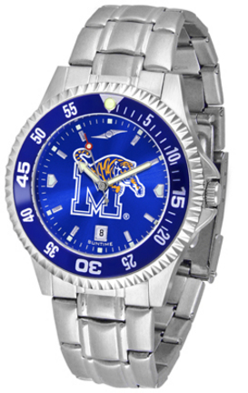 Memphis Tigers Competitor AnoChrome Men's Watch with Steel Band and Colored Bezel