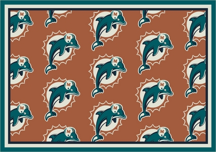"""Miami Dolphins 3' 10"""" x 5' 4"""" Team Repeat Area Rug (Orange)"""