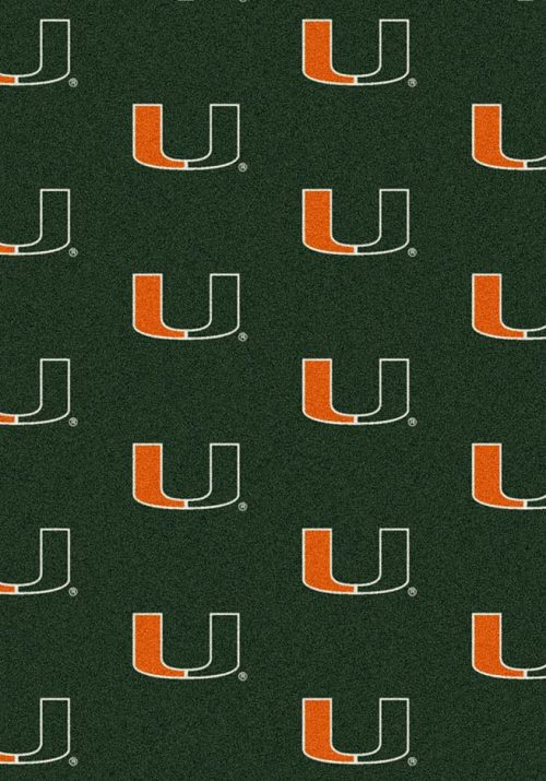 "Miami Hurricanes 3' 10"" x 5' 4"" Team Repeat Area Rug"