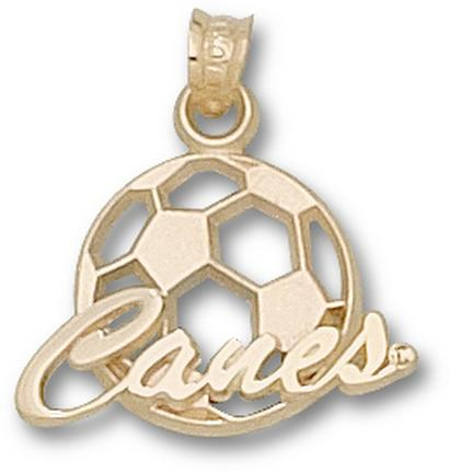 """Miami Hurricanes """"Canes Soccerball"""" Pendant - 10KT Gold Jewelry"""