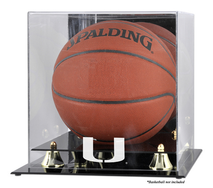 Miami Hurricanes Golden Classic Logo Basketball Display Case with Mirror Back