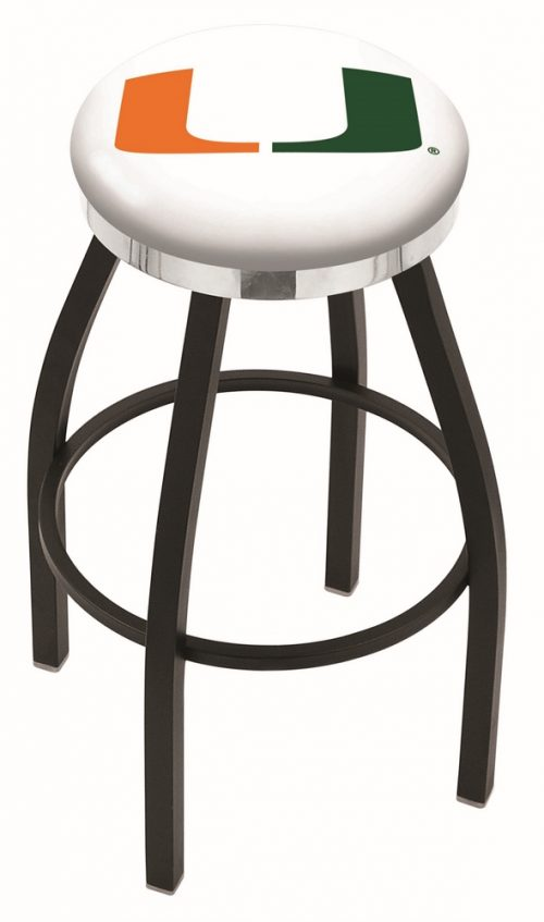 """Miami Hurricanes (L8B2C) 30"""" Tall Logo Bar Stool by Holland Bar Stool Company (with Single Ring Swivel Black Solid Welded Base)"""