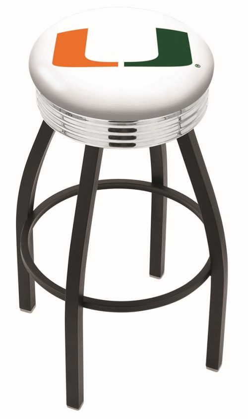 """Miami Hurricanes (L8B3C) 25"""" Tall Logo Bar Stool by Holland Bar Stool Company (with Single Ring Swivel Black Solid Welded Base)"""